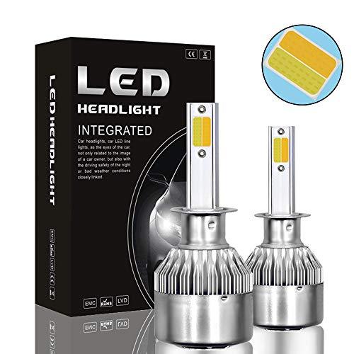 - Mushan Upgraded Headlight Bulb,H1 LED Headlight White Light and Gold Light Bulb Car Headlight 72W 7600LM High/Low Beam Headlight Conversion Kits-2PACK
