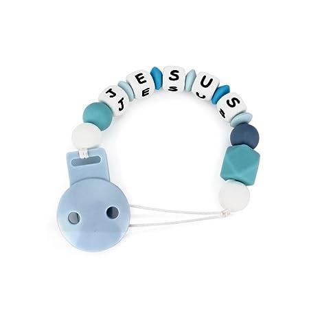 RUBY- Chupetero Personalizado para Bebe Niña y Niño con Nombre Bola Silicona Anti bacteria | 2º unid al 15% de desc.(Azul)