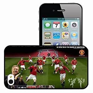 Personalized iPhone 4 4S Cell phone Case/Cover Skin Gfhds English Premier League 0910 Wayne Rooney Cristiano Ronaldo Manchester United Football Black