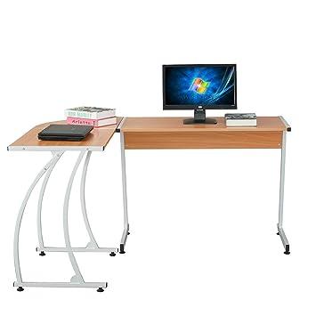 PC Computer Office Desk Corner L-shape Slide Keyboard With Metal Frame Table UK