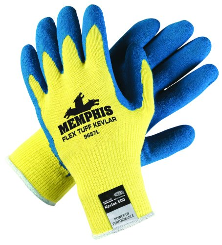 (Memphis Glove 9687L FlexTuff Kevlar Latex Palm Men's Gloves with Straight Thumb, Blue/Yellow, Large,)
