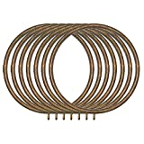 Classic Home 2 in. Historical Gold Metal Rings with Fixed Grommet Set/7 For 2 in. Or 2 1/4 in. Dia. Pole