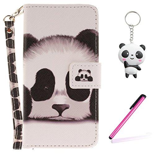 Coque iPhone X Panda mignon Portefeuille Fermoir Magnétique Supporter Flip Téléphone Protection Housse Case Étui Pour Apple iPhone X / iPhone 10 (2017) 5.8 Pouce + Deux cadeau