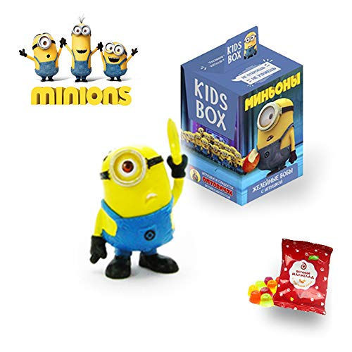 Despicable Me 3 KidsBox Minions mini figure in blind bag and tasty gummies- Minions miniatures- despicable me collection-minios toys figures-minion gifts-despicable me minions-despicable me movie