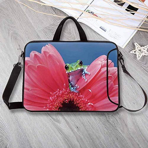 "Animal Decor Waterproof Neoprene Laptop Bag,Cute Tiny Little Tree Frog on Gerbera Flower Magical Nature Moments Shoots Art Photo Laptop Bag for Business Casual or School,8.7""L x 11""W x 0.8""H"