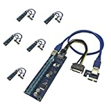 KECAG PCI-E Riser Adapter Card Powered PCIe 006C 007 16x to 1x w/60cm USB 3.0 Extension Cable & 6-Pin PCI-E to SATA (6 packs)