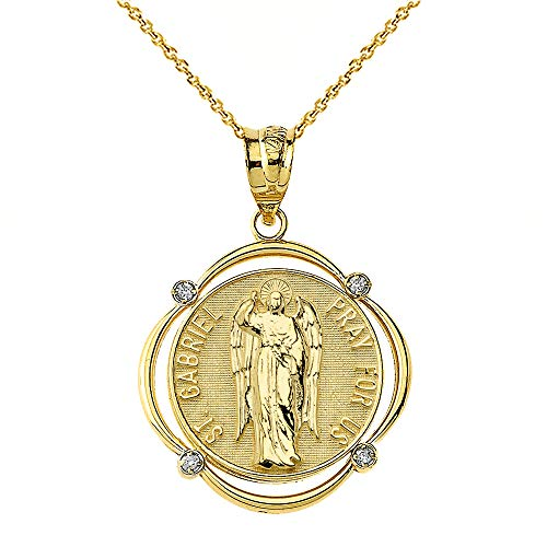 Solid 14k Gold St. Gabriel The Archangel Diamond Round Frame Pendant Necklace, 22