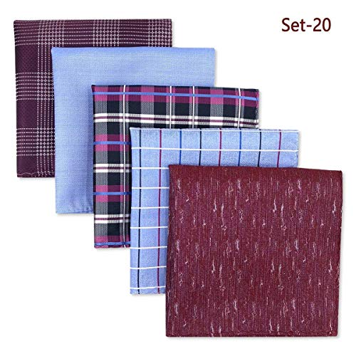 Shlax&Wing 5 Pieces Assorted Mens Pocket Square Handkerchiefs Set Lot