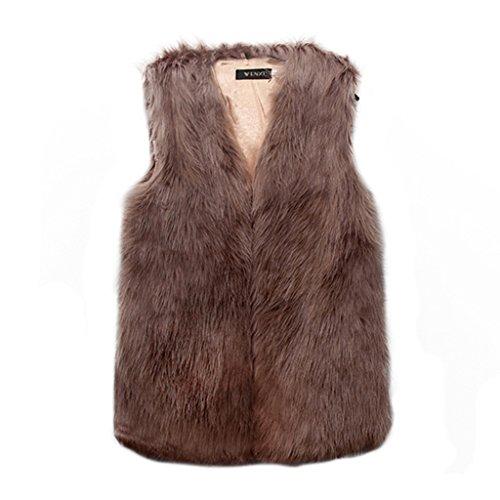 DINGANG? Femmes Gilet vtement long Slim Vest Faux Fur Gilet Veste Kaki