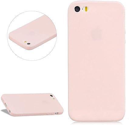 DasKAn Couleur Unie Mat Silicone Coque pour iPhone 5 / 5S / Se, Ultra Mince Antichoc Souple Gel TPU Housse de Protection Étui de Téléphone, Rose #2