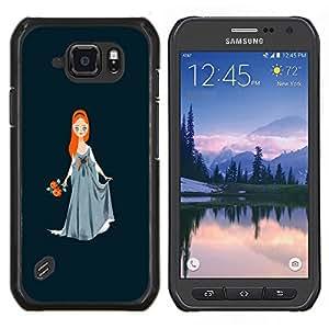EJOOY---Cubierta de la caja de protección para la piel dura ** Samsung Galaxy S6Active Active G890A ** --Muchacha de la bola de la princesa de pelo rojo del vestido de Arte Dibujo