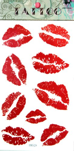 Red Lip Temporary Tattoo Stickers Sexy Tattoos
