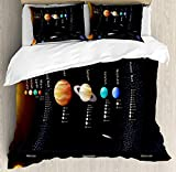 Outer Space 4 Piece Bedding Set Twin Size, Solar System Scientific Information Jupiter Saturn Universe Telescope Print, Duvet Cover Set Quilt Bedspread for Childrens/Kids/Teens/Adults, Multicolor