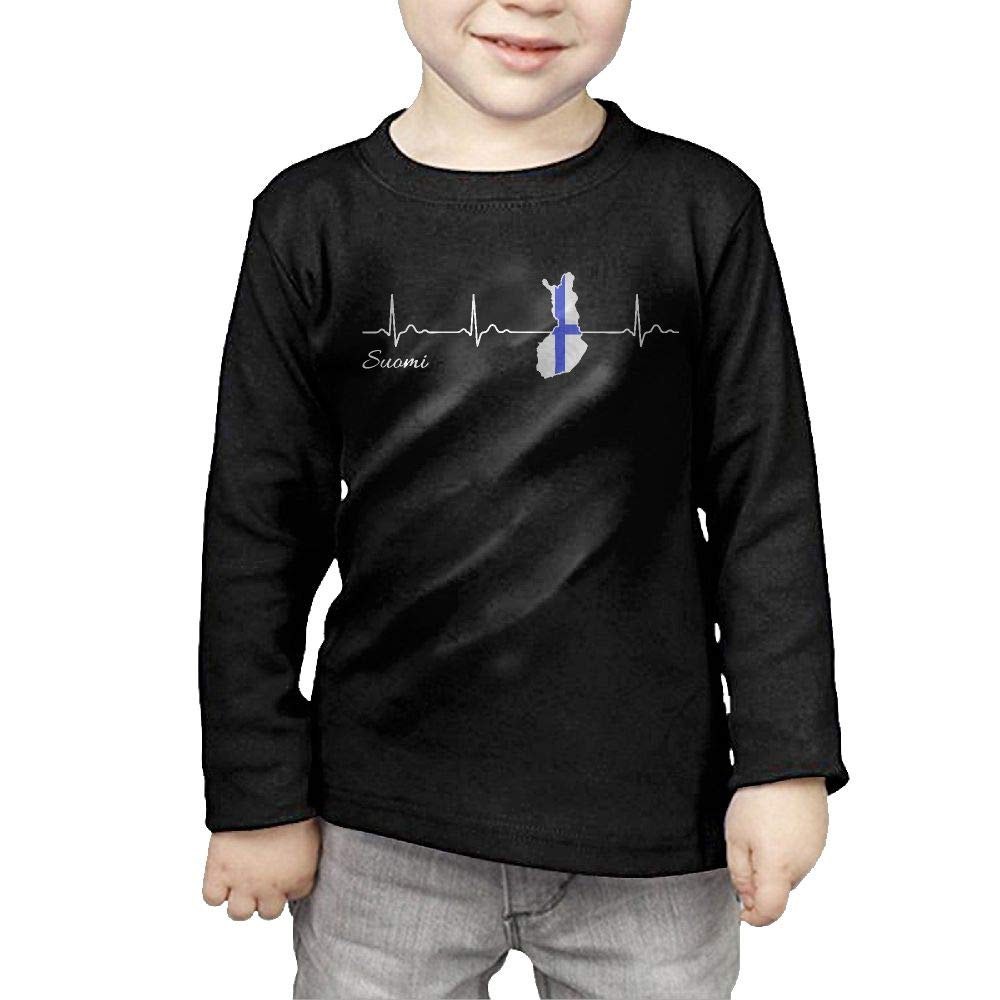 Fryhyu8 Toddler Kids Finland Suomi Heartbeat Printed Long Sleeve 100/% Cotton Infants Tops