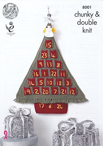 King Cole Christmas Accessories Chunky & DK Knitting Pattern Advent Calendar Tree & Angels (8001) (Sewing Calendar Advent)
