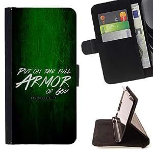 BullDog Case - FOR/HTC DESIRE 816 / - / PUT ON THE ARMOR OF GOD - EPHESIANS 6:11 /- Monedero de cuero de la PU Llevar cubierta de la caja con el ID Credit Card Slots Flip funda de cuer