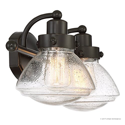 Luxury Transitional Bathroom Vanity Light, Medium Size: 8''H x 17.75''W, with Rustic Style Elements, Oil Rubbed Parisian Bronze Finish and Seeded Schoolhouse Glass, UQL2651 by Urban Ambiance by Urban Ambiance (Image #7)