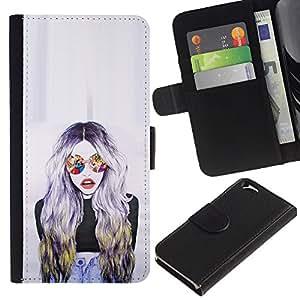 APlus Cases // Apple Iphone 6 4.7 // Moda Gafas de sol Mujer Diseño Arte // Cuero PU Delgado caso Billetera cubierta Shell Armor Funda Case Cover Wallet Credit Card