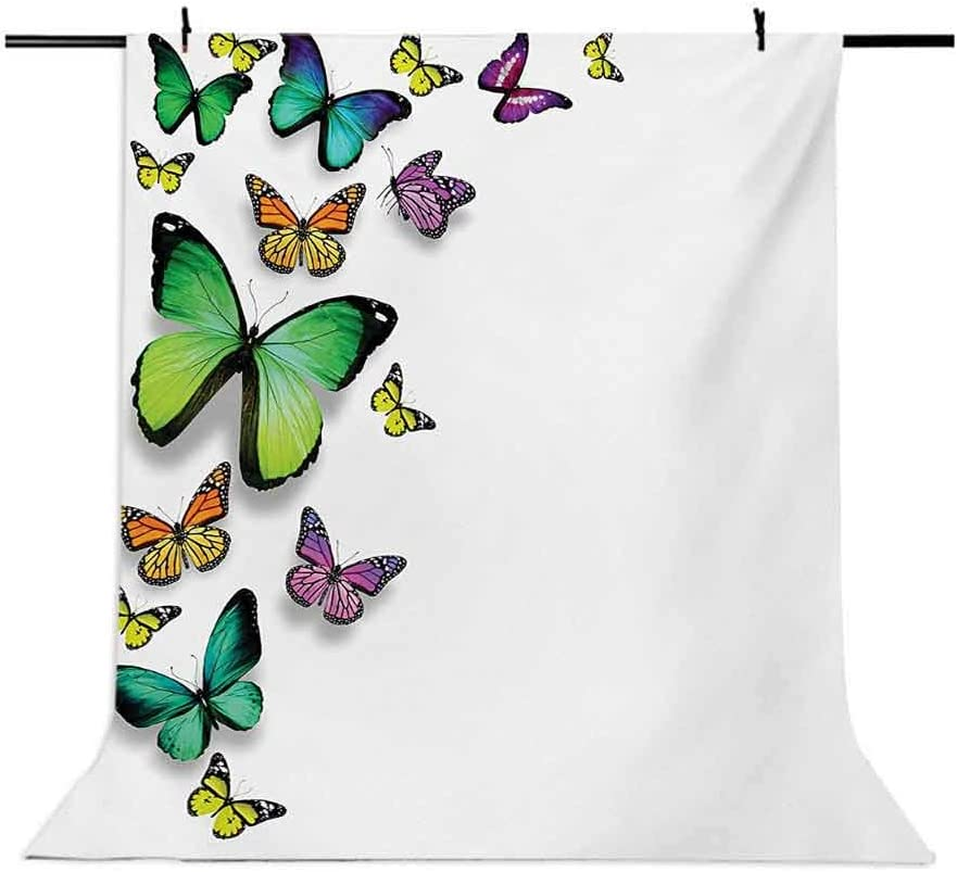 6.5x10 FT Photography Backdrop Different Size Butterflies on Plain Background Wild Nature Graphic Bohemian Print Background for Photography Kids Adult Photo Booth Video Shoot Vinyl Studio Props