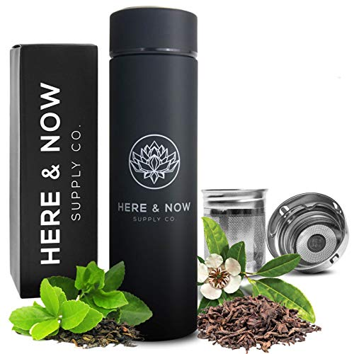 Multi-Purpose Travel Mug and Tumbler | Tea Infuser Water Bottle | Fruit Infused Flask | Hot & Cold Double Wall Stainless Steel Coffee Thermos | by Here & Now Supply Co. (Zen Black) ()