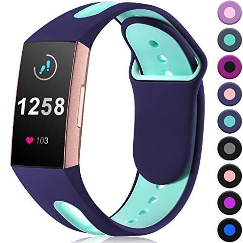Maledan Compatible with Fitbit Charge 3 Bands for Women Men, Blue Teal, Large