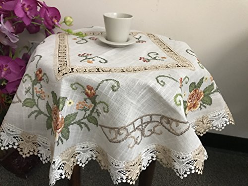 Tasleffa Gorgeous Embroidered and Cut Work Floral Cross Stitch with Venice lace Linen Table Topper:36''x 36'' Square.Beige by Tasleffa Lux Home Fashion