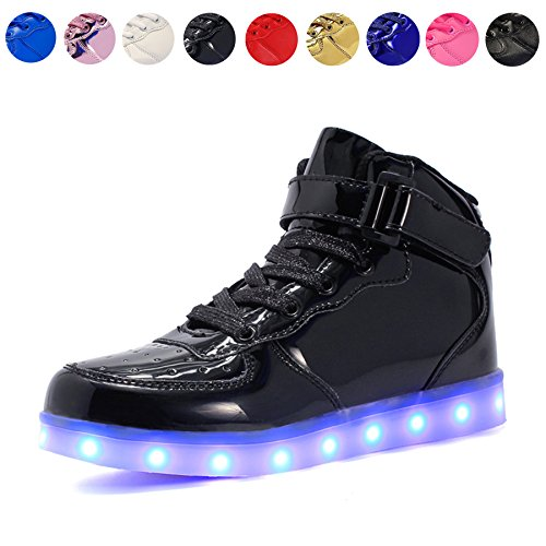 Voovix Kids LED Light up High-top Shoes Rechargeable Hi-Shine Glowing Sneakers for Boys and Girls Child Unisex(black01,US6/CN39)