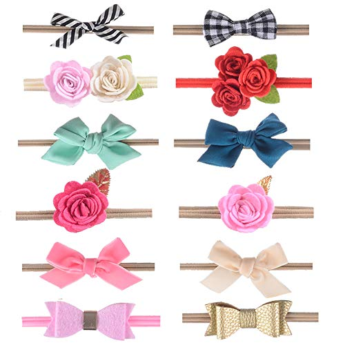 inSowni Assorted 12 Pack Flower Bow Nylon Headbands Hair Accessories for Newborn Baby Girl Toddlers Kids (12PCS S1) ()