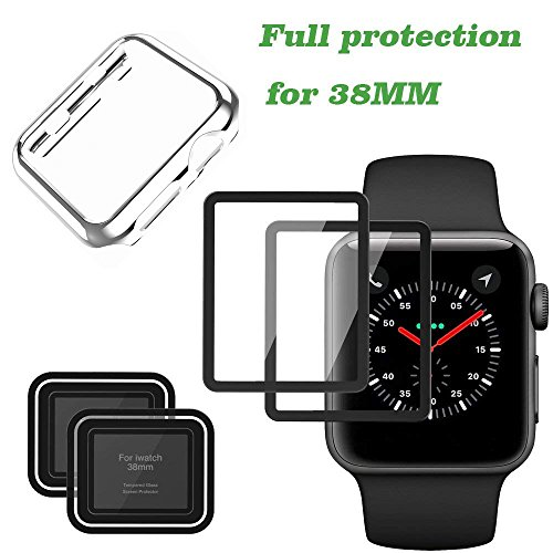Screen Protector for Apple Watch and Apple iWatch Case for Series 3/2, Full Coverage iPhone Watch Tempered Glass Screen Protector (38mm) ()