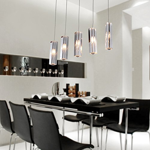LightInTheBox Modern 5-Light Mini Bar Pendant Light with K9 Crystal ball Drop Stainless Steel Chandelier Lighting Fixture
