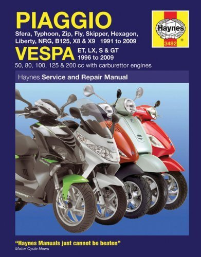 Piaggio and Vespa Scooters (with Carburettor Engines) Service and Repair Manual: 1991 to 2009 (Haynes Motorcycle Manuals) by Coombs. Matthew ( 2009 ) Paperback