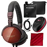 Audio-Technica ATH-ESW990H Portable Wooden On-Ear Headphones with M-Audio Bass Traveler Headphone Amplifier, Xpix Hard Body Headphone Case, and Fibertique Cloth