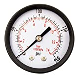 DuraChoice 2'' Dial Utility Pressure Gauge for Air Compressor Water Oil Gas, 1/4'' NPT Center Back Mount, Black Steel Case, 0-200 PSI