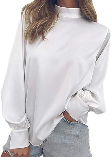 junkai Mujeres Calientes Otoño Simple Casual Cuello Alto Camisa De Gasa Manga Linterna Tops Elegante Blusa Suelta Suelta S-2XL: Amazon.es: Ropa y accesorios