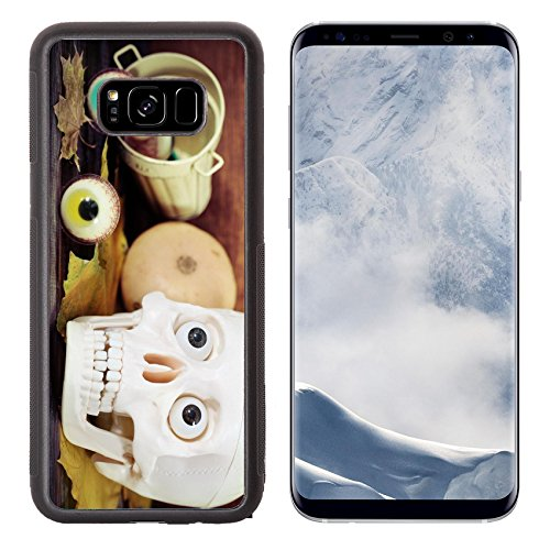 Luxlady Samsung Galaxy S8 Plus S8+ Aluminum Backplate Bumper Snap Case IMAGE ID: 21992311 Creepy skull halloween sweets and pumpkins for Halloween party
