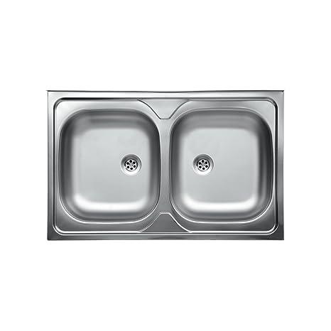 WEBMARKETPOINT Lavello da Cucina Due Vasche in Acciaio Inox da ...