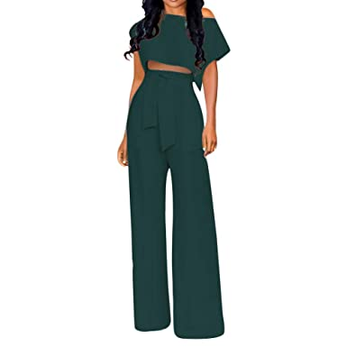 2e828dffc9 Amazon.com: Womens Two Piece Outfits Jumpsuits Crop Top and Flare Bell  Bottom Pants Set with Belt: Clothing