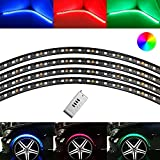 iJDMTOY 4pcs Flexible Multi-Color RGB LED Wheel-Well Lights | LED Accent Lighting Kit w/ Remote Control