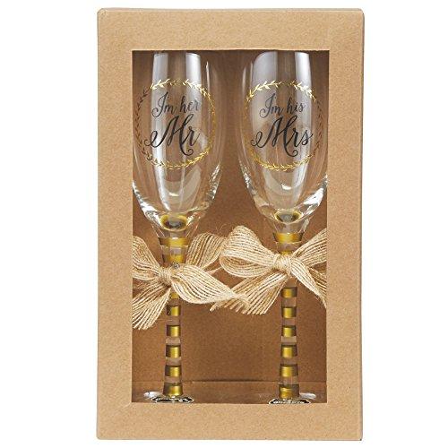 Mud Pie Wedding Champagne Glasses Set, Gold