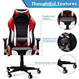 High-Back Computer Gaming Chair, SLYPNOS Ergonomic Swivel Racing Style Bucket Seat Leather Office Chair with Detachable Neck Cushion Lumbar Support for Home Office, 300 Lbs. Weight limit, Red
