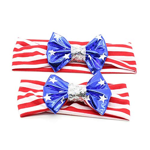 Baby and Mommy Cotton Headwrap Set American Flag Hair Bow Elastic Headband Patriotic Stars & Stripe Bandana Parent-child Photography 2/4 Pack (2 PCS Stars&Striped Headbands) (Striped Headband Red)