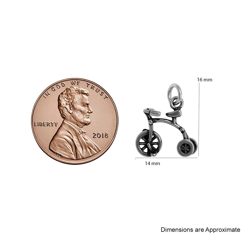 Raposa Elegance Sterling Silver 3D Tricycle Charm on Optional Charm Holder