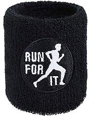 Run for IT zweetband, exclusief loper, borduurwerk, zweetband, marathon crossfit, geborduurd & absorberende badstof polsarm, zwart, fitness, polsband, geschenk, joggen zweetarmband