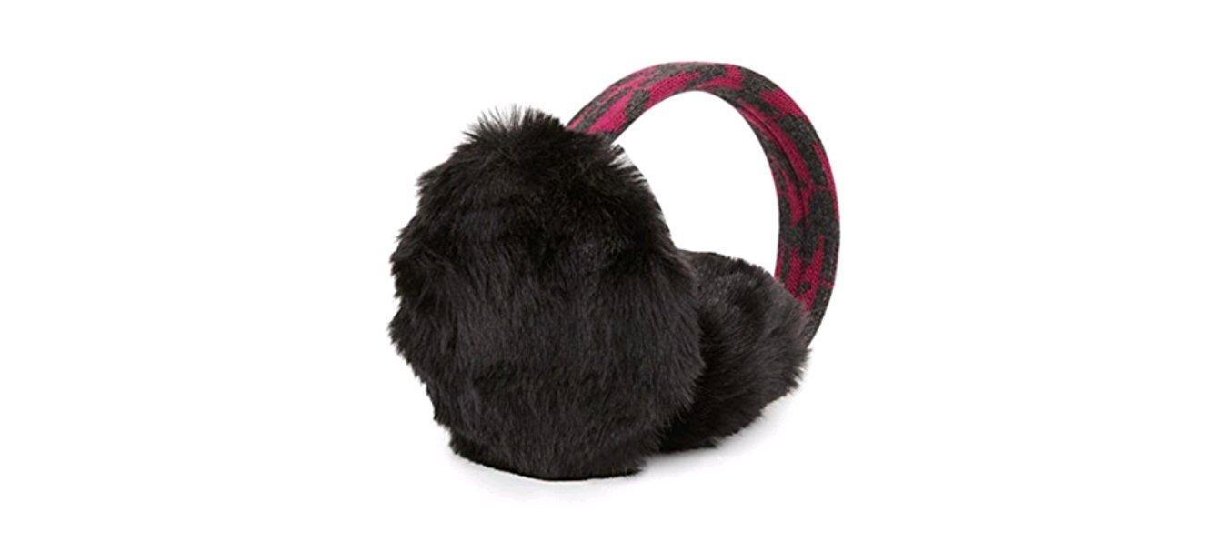 Michael Kors MK Logo Earmuffs With Faux Fur, Fuchsia/Grey