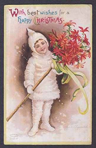 Child in fur suit with poinsettia embossed Christmas postcard 1900s