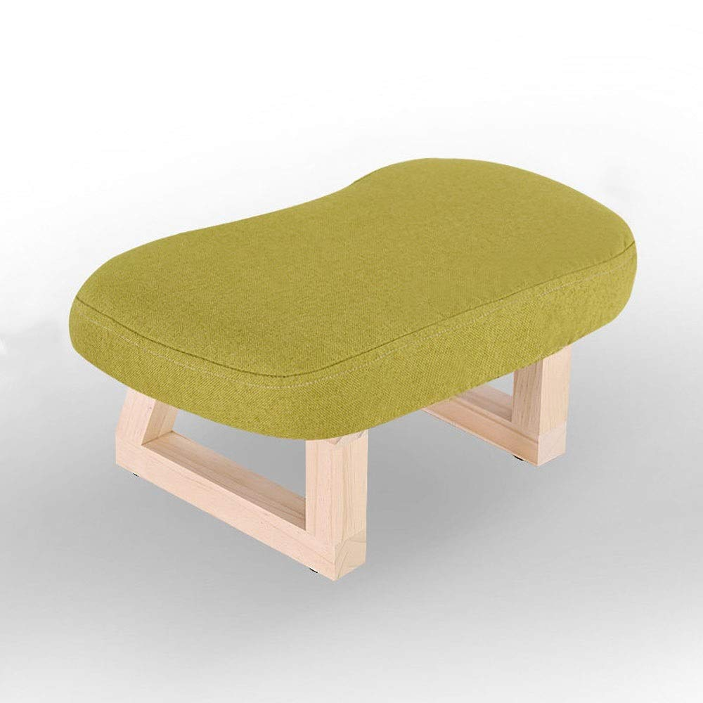 C Solid Wood Stool Living Room Creative Retro Small Bench Home Adult wear shoes Stool Sofa Change shoes Stool Fabric Stool (color   F)