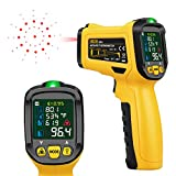 URCERI Digital IR Thermometer Digital Laser Non Contact Temperature Gun -58? to 1472? Range with K-Type Thermocouple UV Leak Detector Ambient Humidity Tester, Black and Yellow