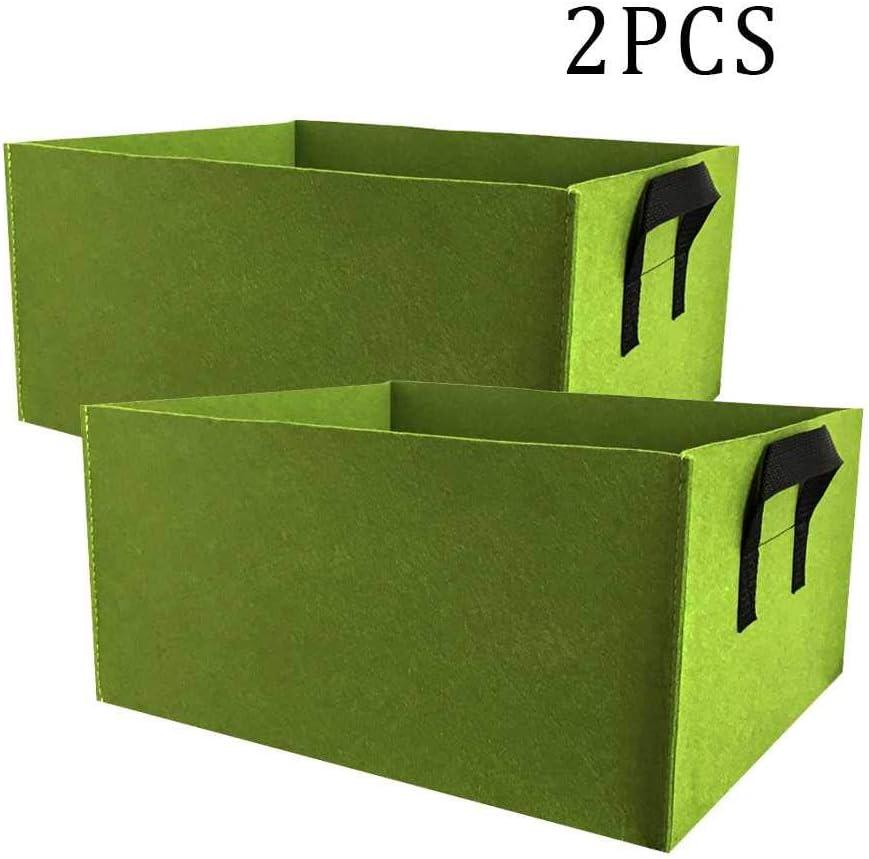 ONLINE - Bolsa de cultivo para plantas de jardín, 2 contenedores de cama de jardín con bolsas rectangulares, plantas de interior y exterior con asas, flores, bolsas de vegetales, macetas