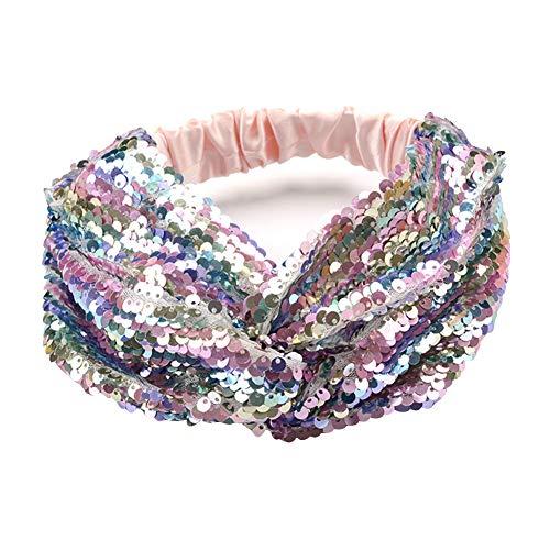 - Sparkly Mermaid Reversible Sequins Headband Elastic Stretch Twist Headwrap for Women Girls