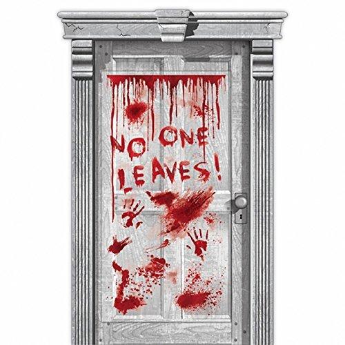 Haunted Asylum Halloween Dripping Blood Door Decoration,